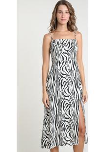 Vestido Feminino Mindset Midi Estampado Animal Print Zebra Com Fenda Alça Fina Bege Claro