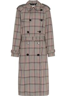 Stella Mccartney Trench Coat Xadrez Com Pregas - Marrom