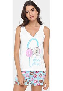 Pijama Curto Victory Short Doll Donuts Feminino - Feminino