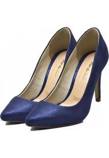 Scarpin Bico Fino Fandarello Cetim Azul - Azul - Feminino - Dafiti
