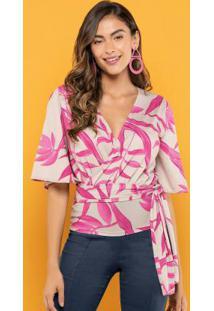 Blusa Estampada Transpasse Rosa