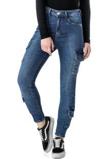 Calça Azul Skinny Cargo Jeans
