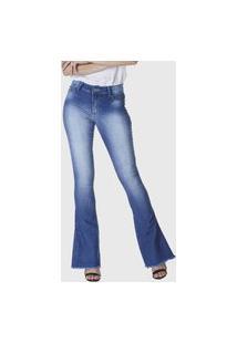 Calça Jeans Hno Jeans Flare C/ Pedras E Barra Desfiada Azul