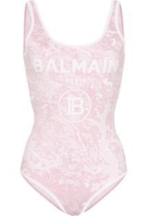 Balmain Body De Tricô Com Estampa De Logo - Rosa