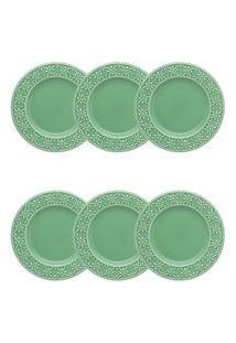 Conjunto 6 Pratos Para Sobremesa Mendi Sálvia Verde Oxford