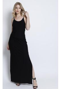 Vestido Longo Com Fendas- Preto- Maria Padilhamaria Padilha