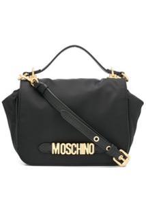 Moschino Logo Plaque Crossbody Bag - Preto