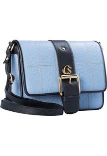 Bolsa Transversal Em Couro Com Textura Animal- Azul & Prcarmen Steffens