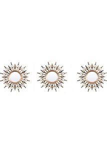 Espelho De Parede Redondo Com 3 Peças Soleil 25X25Cm Ouro