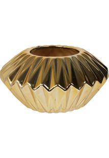 Centro De Mesa Decorativo- Dourado- 9,5Xø18,5Cm-Mabruk