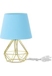 Abajur Diamante Dome Azul Bebe Com Aramado Dourado - Azul - Dafiti