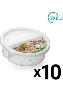 Conjunto Pote Microondas Freezer 2 Divisórias 720Ml 10Un - Tricae