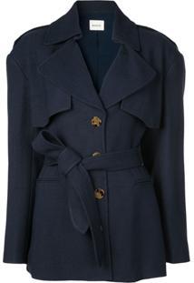 Khaite Trench Coat Com Cinto - Azul