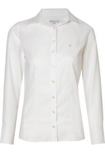 Camisa Ml Feminina Tricoline Ft (Branco, 40)