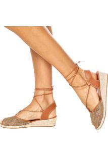 Sandália Dafiti Shoes Amarração Renda Nude