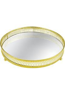 Bandeja Em Metal Com Espelho Redonda 20Cm Dourada