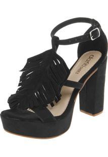 Sandália Dafiti Shoes Meia-Pata Franjas Preta