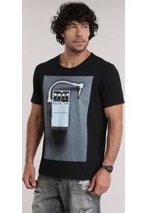 Camiseta Com Estampa Preta