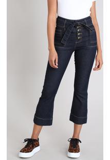 Calça Jeans Feminina Sawary Pantacourt Com Faixa Para Amarrar Azul Escuro