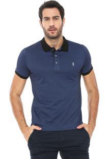 Camisa Polo Sergio K Reta Jacquard Azul/Preta