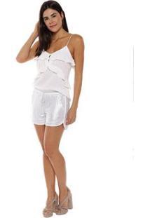 Shorts Studio 21 Fashion Metalizado - Feminino-Prata