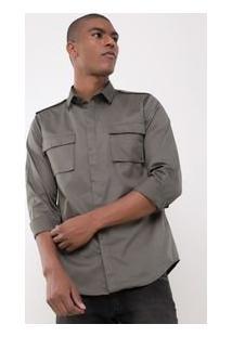 Camisa Slim Com Bolso