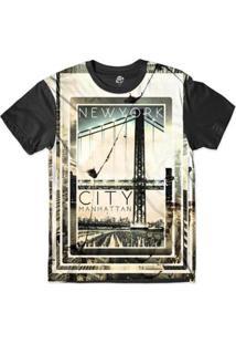 Camiseta Bsc New York City Manhattan Sublimada Masculina - Masculino-Preto