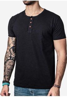 Camiseta Henley Preta 0183