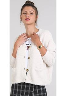 Cardigan Feminino Amplo Em Pelo Com Bolsos E Botões Off White