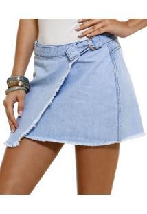 Saia Feminina Em Jeans Transpassada Marisa