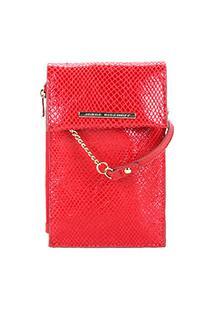 Bolsa Couro Jorge Bischoff Mini Bag Snake Light Feminina - Feminino-Vermelho