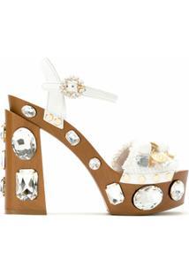 Dolce & Gabbana Sandália Meia Pata Com Cristais - Marrom