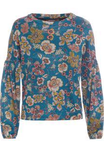 Blusa Feminina Moletom Fleur - Azul