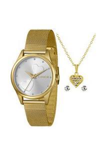 Kit Relógio Feminino Lince Lrgj115L Ky71S1Kx Analógico + Conjunto De Semijoia | Lince | Dourado | U
