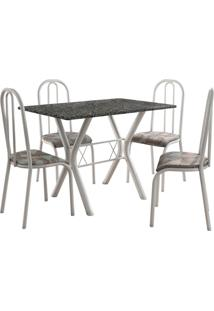 Conjunto De Mesa Miami 4 Cadeiras Branco/Tribal Fabone Móveis Tubulares
