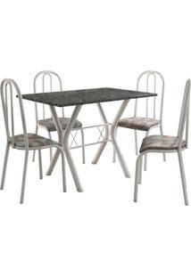 Conjunto De Mesa Miami 4 Cadeiras Branco/Tribal Fabone