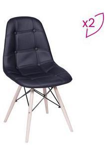 Or Design Jogo De Cadeiras Eames Boton㪠Preto & Bege Claro 2Pã§S