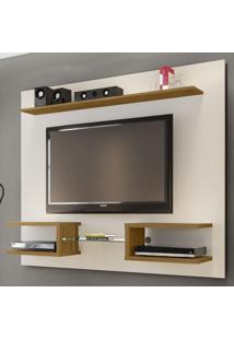 Painel Para Tv Até 55 Polegadas Atlas 6 Prateleiras 2075227 Off White/Cinamomo - Bechara Móveis