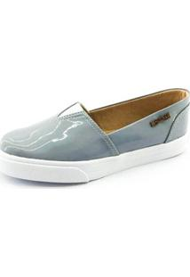 Tênis Slip On Quality Shoes Verniz Feminino - Feminino-Cinza