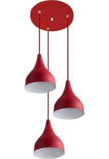 Lustre Pendente Aluminio Gota Triplo 21Cm Vermelho