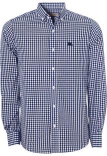 Camisa Burberry Masculina London Xadrez Gingham Azul Marinho