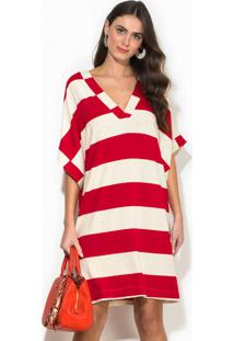 Vestido Curto Listrado Vermelho