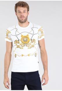 Camiseta Masculina Estampada De Arabescos Manga Curta Gola Careca Branca