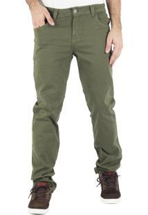 Calça Prime Sarja Slim Verde Militar