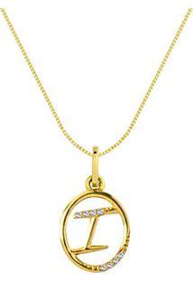 Pingente Letra I Ouro Amarelo E Diamantes 15 Mm