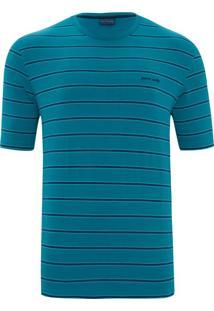 Camiseta Lycra Listrada Azul E Marinho