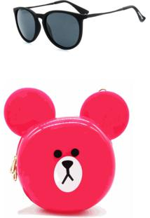 Kit Bolsa Dark Face Pink Estampa De Urso Com Óculos De Sol Preto - Kitbolsa204 - Kanui