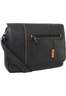 Bolsa Bennemann Carteiro Em Couro Laptop 15.6 Paris 0127 Preto