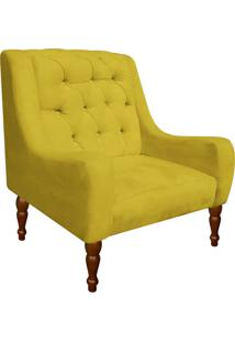 Poltrona Decorativa Maia Suede Amarelo - D'Rossi