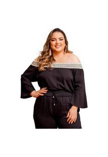 Blusa Ciganinha Almaria Plus Size She Brand Preto